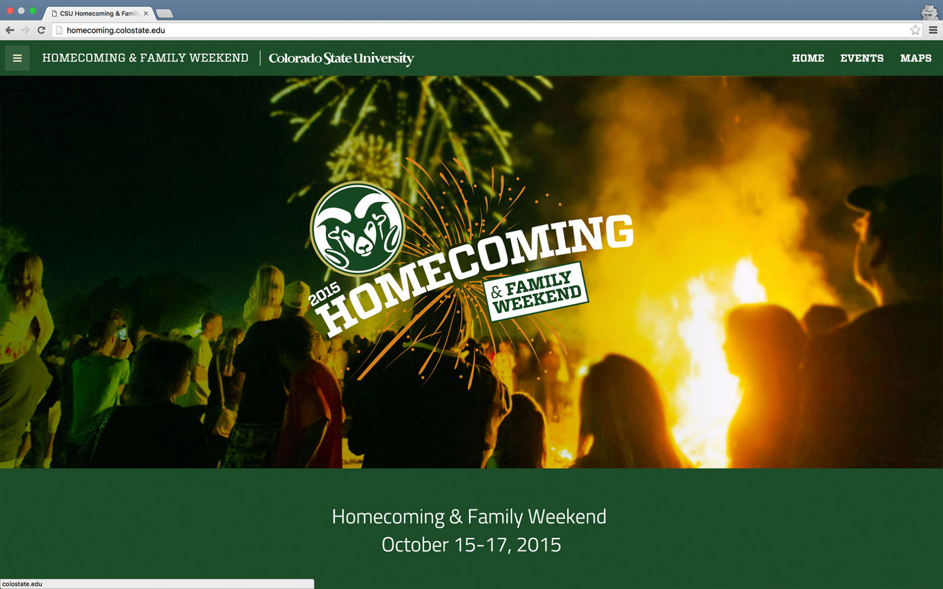 Homecoming website screenshot