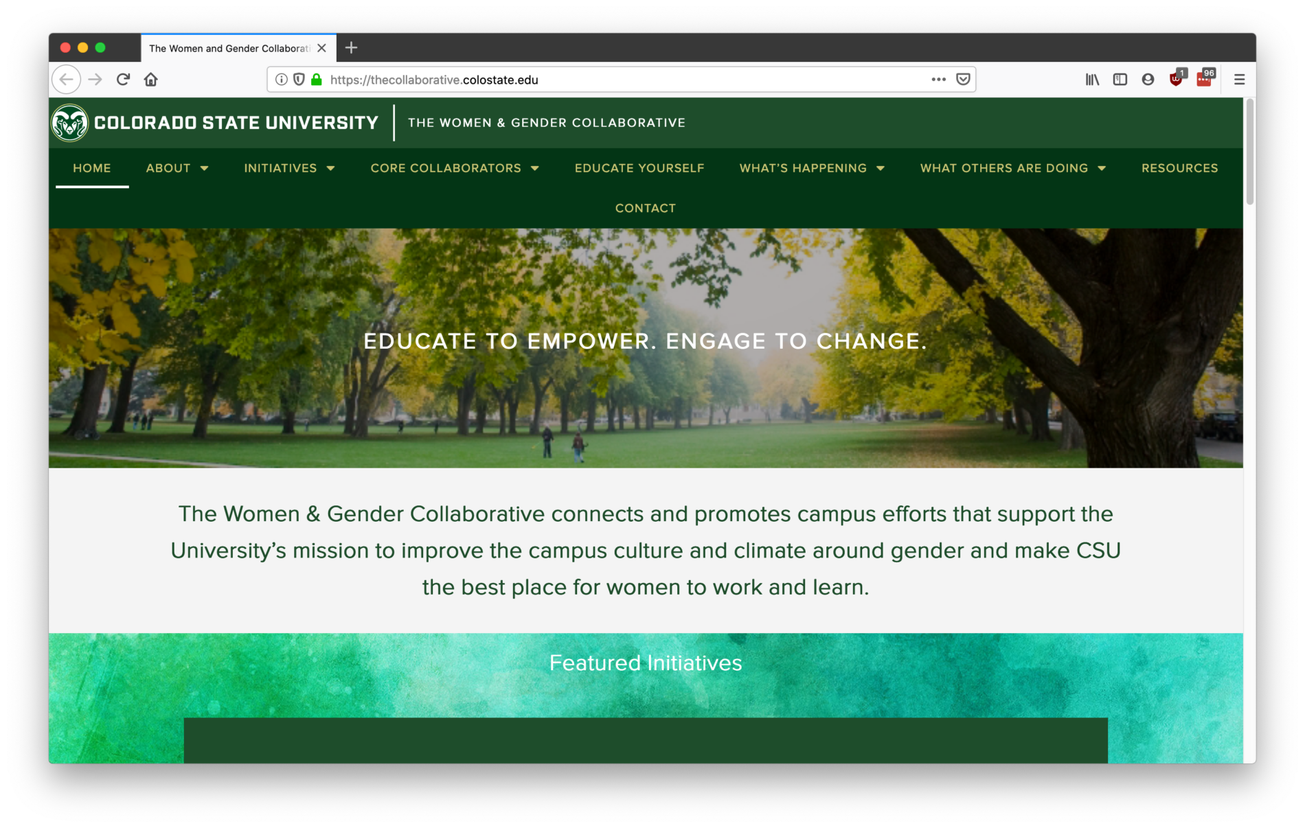 The Women & Gender Collaborative website screenshot